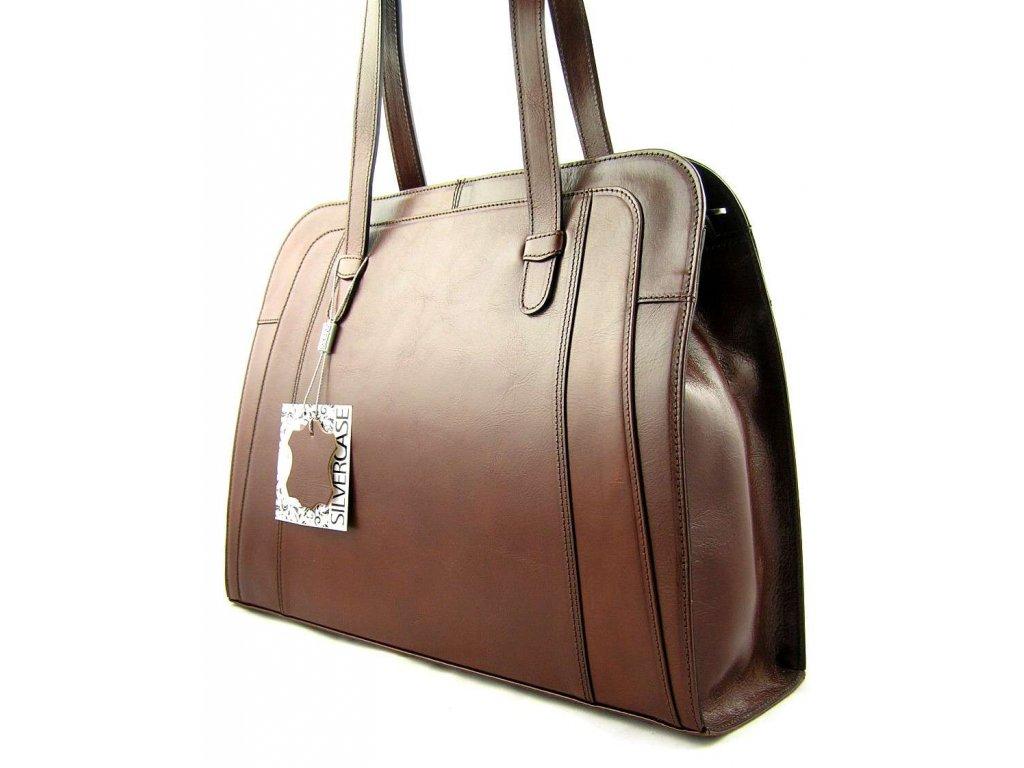 Velká manažerská kožená kabelka Silvercase - hnědá