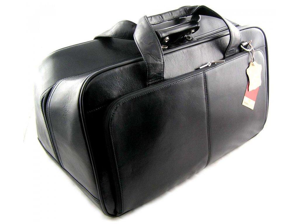 Luxusní cestovní kožená taška Silvercase - černá