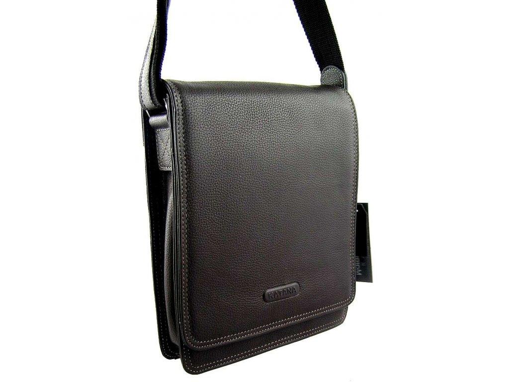 Kožená taška přes rameno KATANA - tmavě hnědá