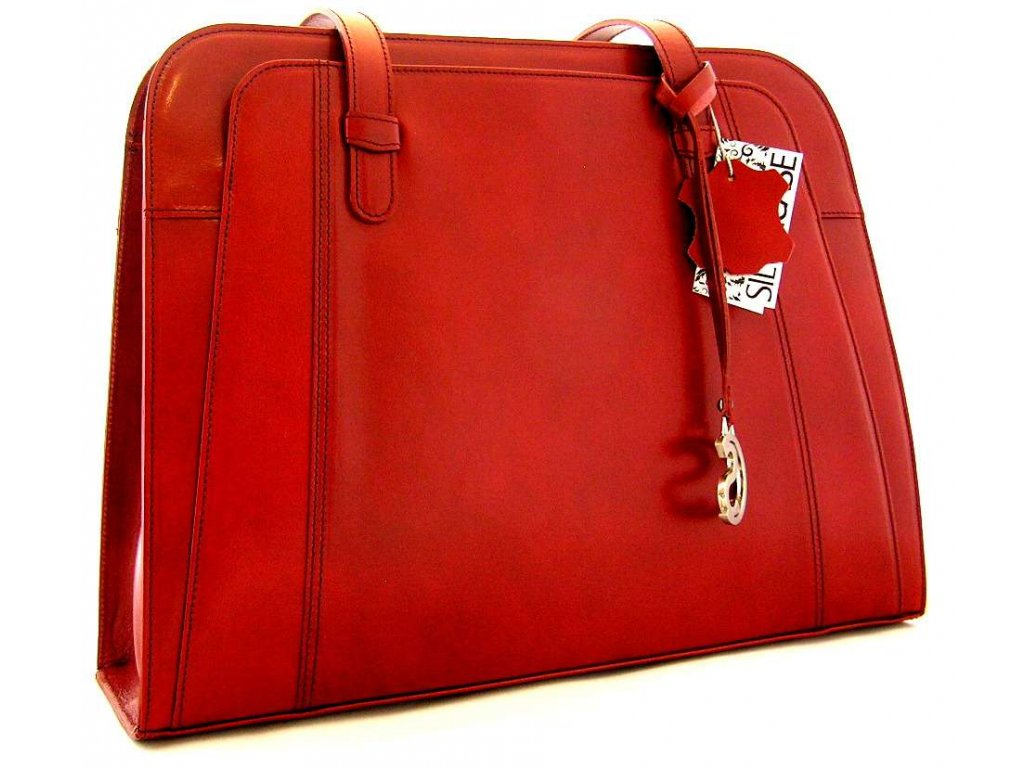 Velká manažerská kožená kabelka Silvercase - červená