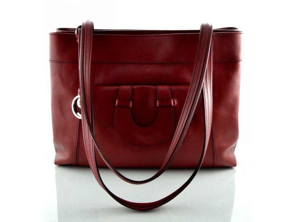 Elegantní kožená kabelka Silvercase - bordo