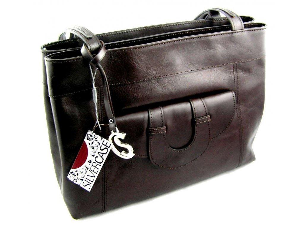 Elegantní kožená kabelka Silvercase - tmavě hnědá