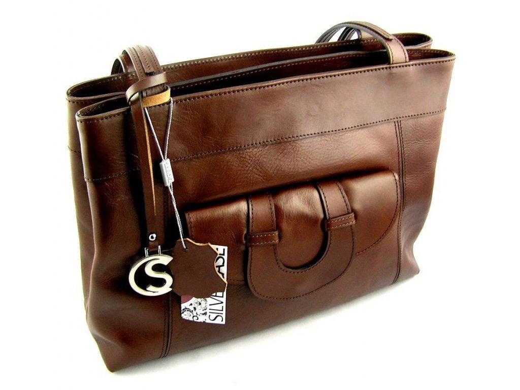 Elegantní kožená kabelka Silvercase - hnědá kaštan