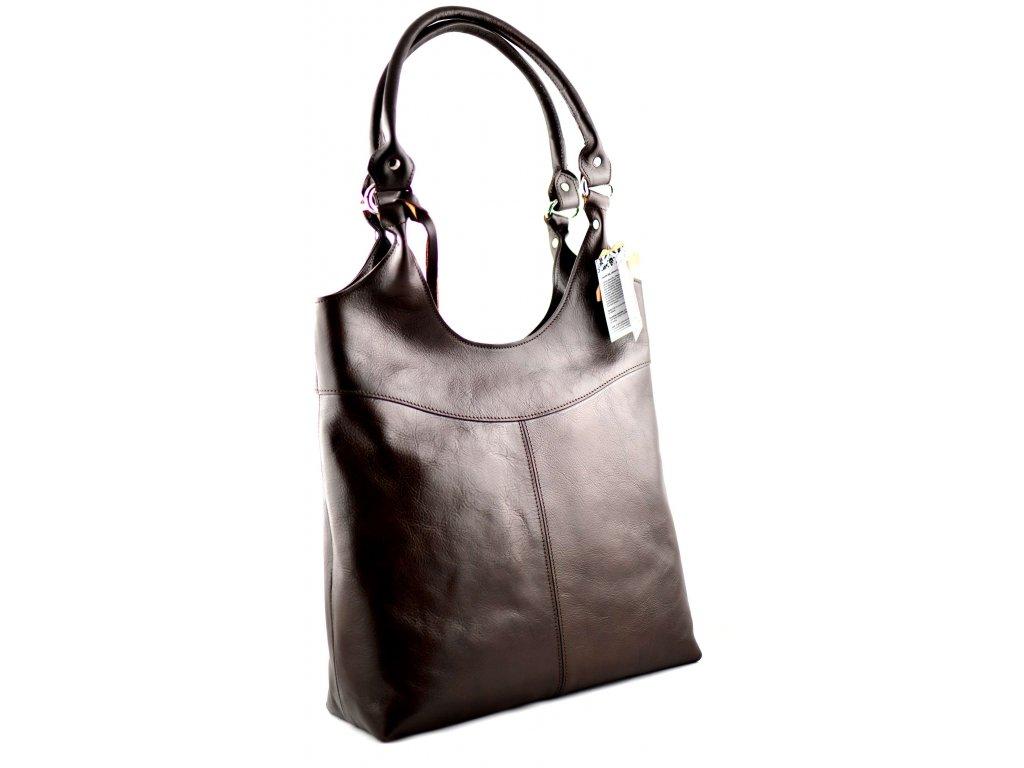 Vysoká kožená kabelka Silvercase - tmavě hnědá
