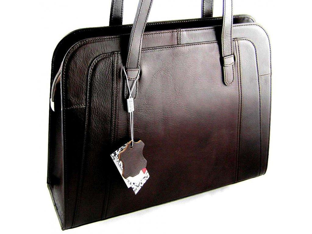 Velká manažerská kožená kabelka Silvercase - tmavě hnědá