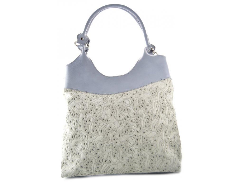 Vysoká kožená kabelka Silvercase - šedá vzor