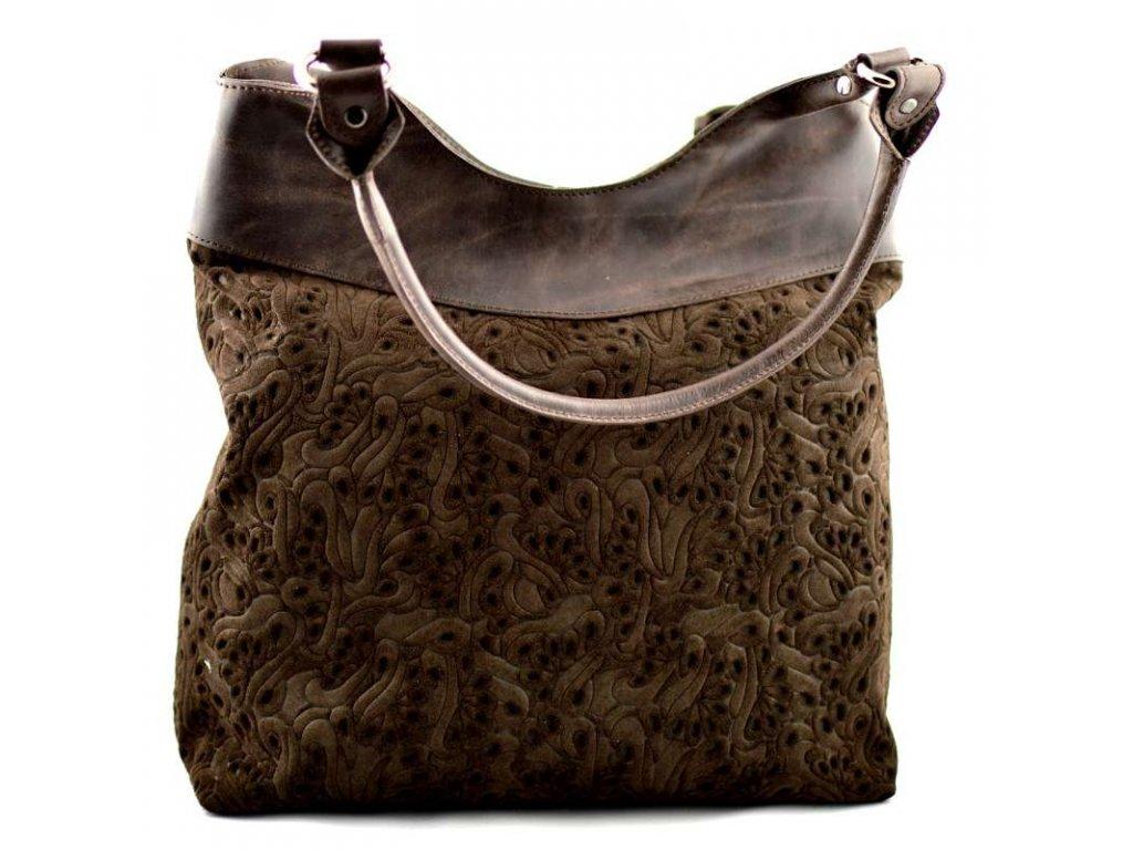 Vysoká kožená kabelka Silvercase - tmavě hnědá vzor