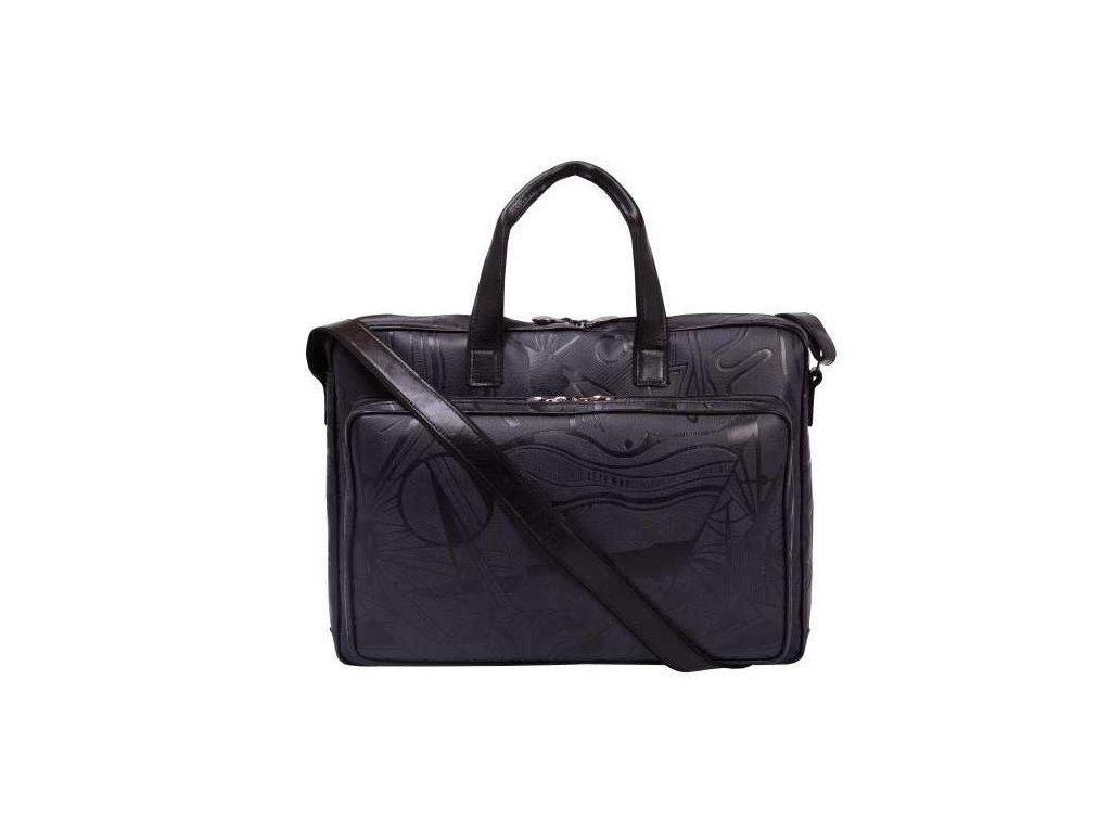 Kožená taška na notebook Hajn - černá vzor
