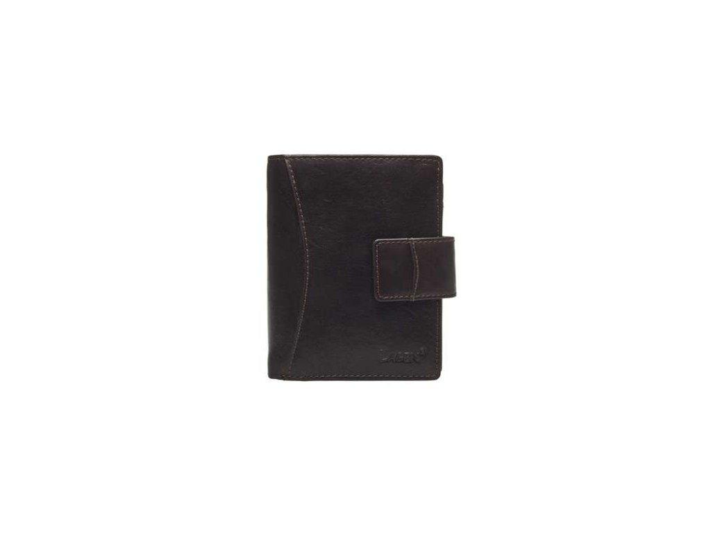 Prostorná kožená peněženka Lagen - tmavě hnědá
