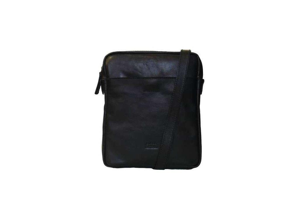 Luxusní kožená taška přes rameno Messenger Elega - černá