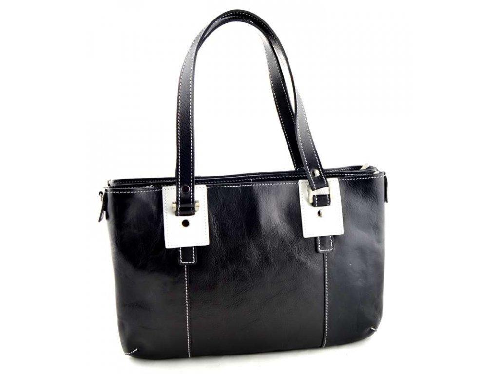 Dvojitá kožená kabelka Silvercase - černá
