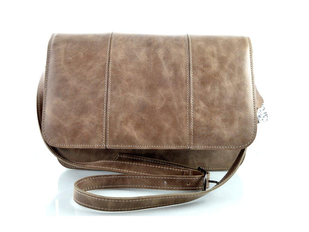 Klopnová kožená taška Silvercase - béžová