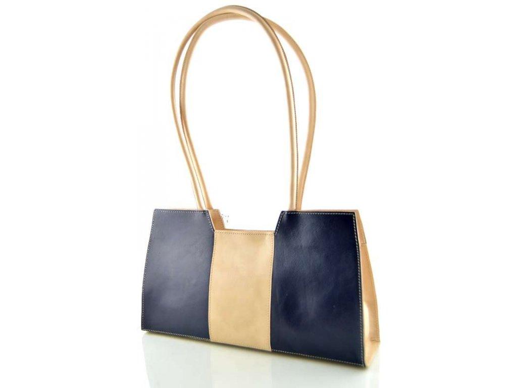 Menší kožená kabelka Silvercase - modro béžová