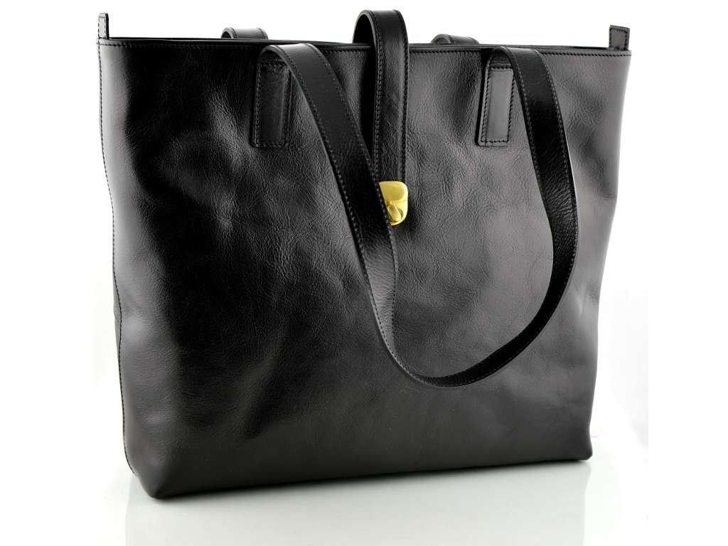 Velká kožená kabelka Silvercase - černá