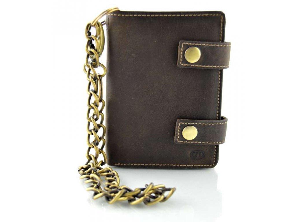 Pánská kožená peněženka s řetízkem - hnědá
