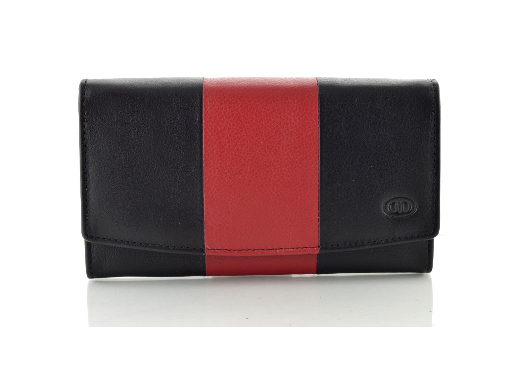 Kožená dámská peněženka - černo červená