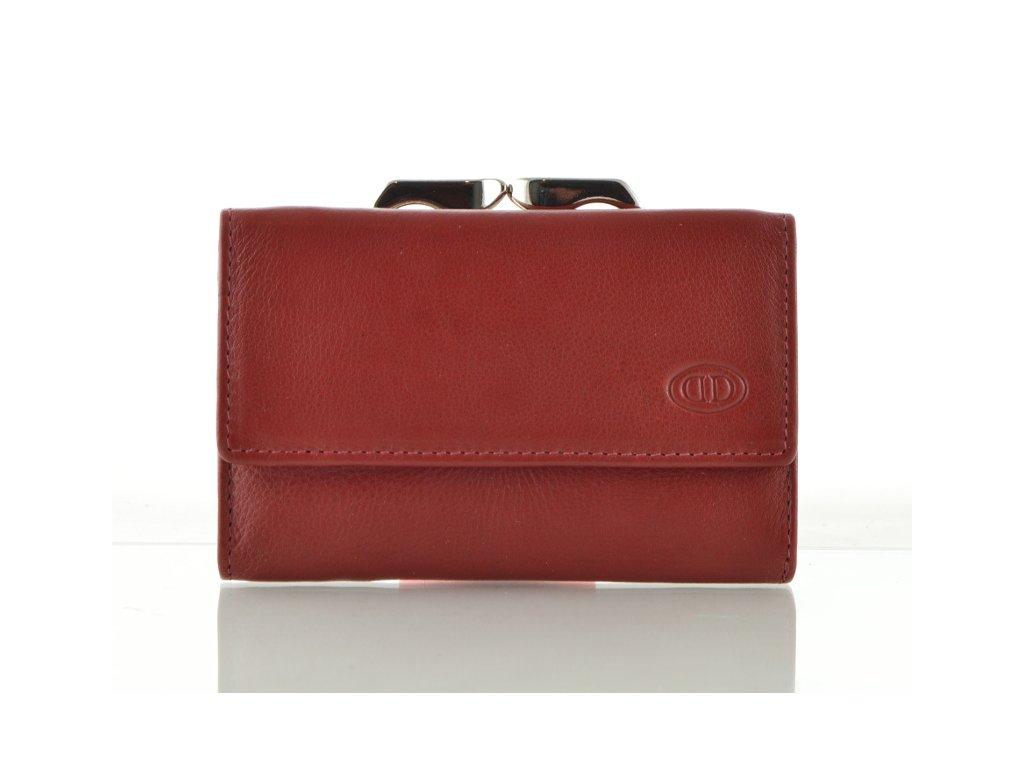 Kožená dámská peněženka s rámečkem - červená