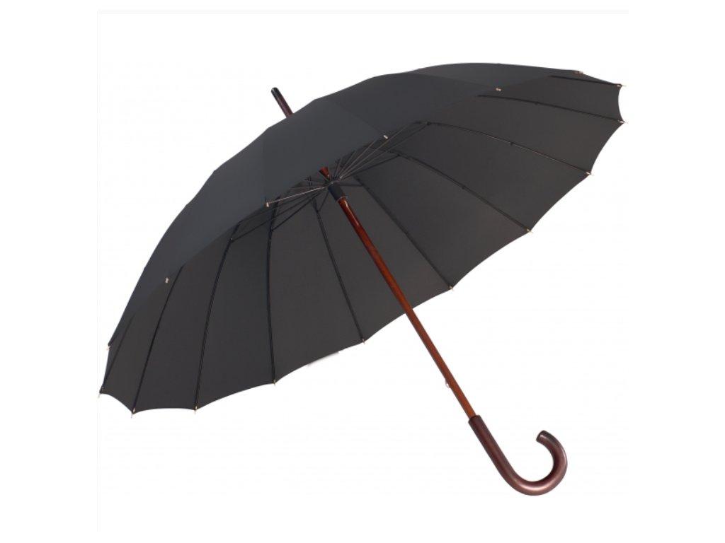 Elegantní holový mechanický deštník - černý