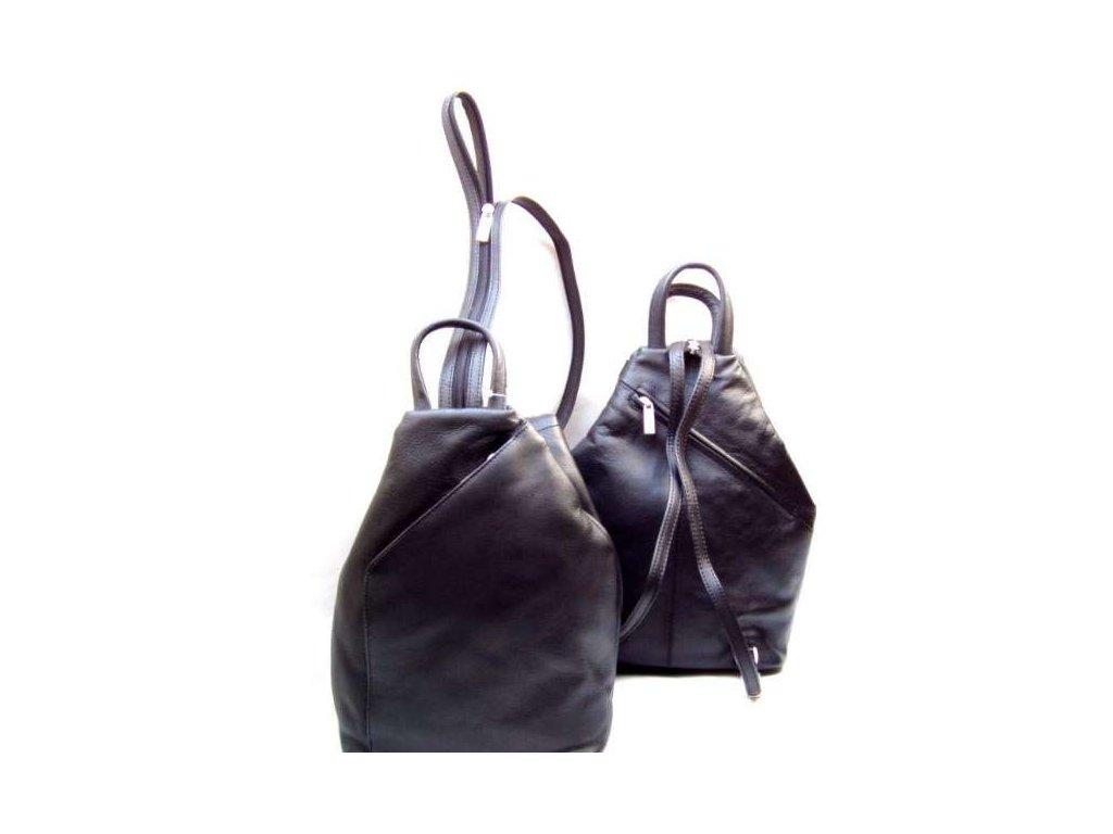Měkký kožený batůžek Arwel - černý