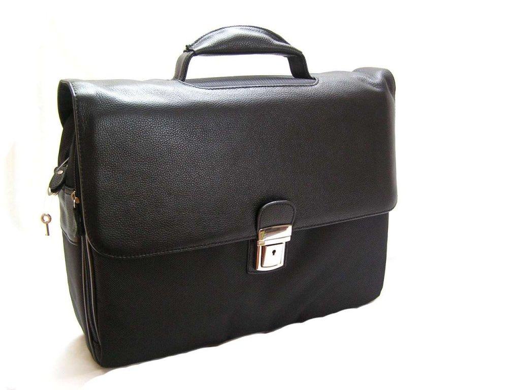 Koženo-textilní aktovka na notebook - černá