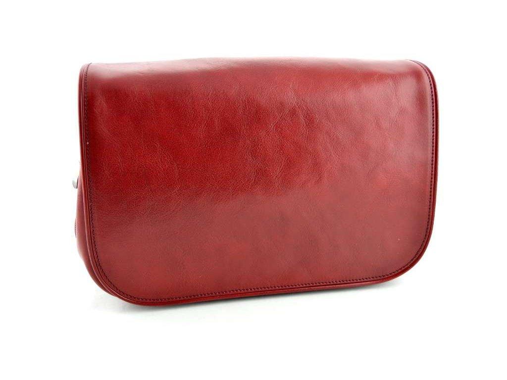 Klopnová kožená kabelka Silvercase - červená