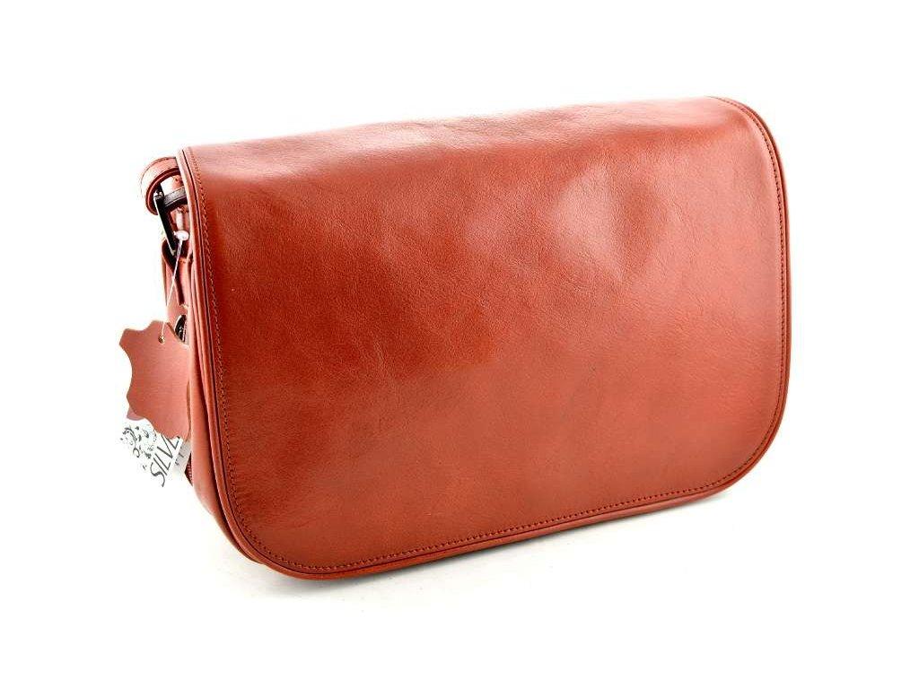 Klopnová kožená kabelka Silvercase - cihlově červená