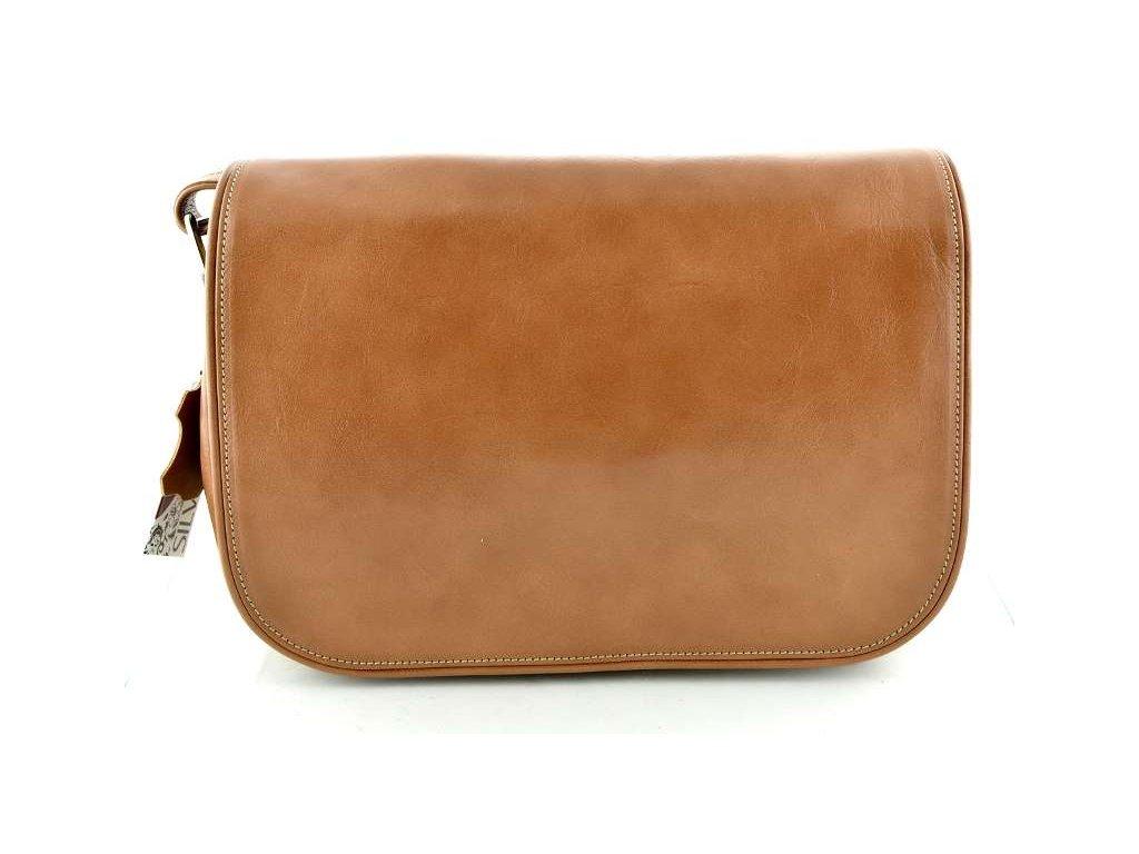 Klopnová kožená kabelka Silvercase - světle hnědá