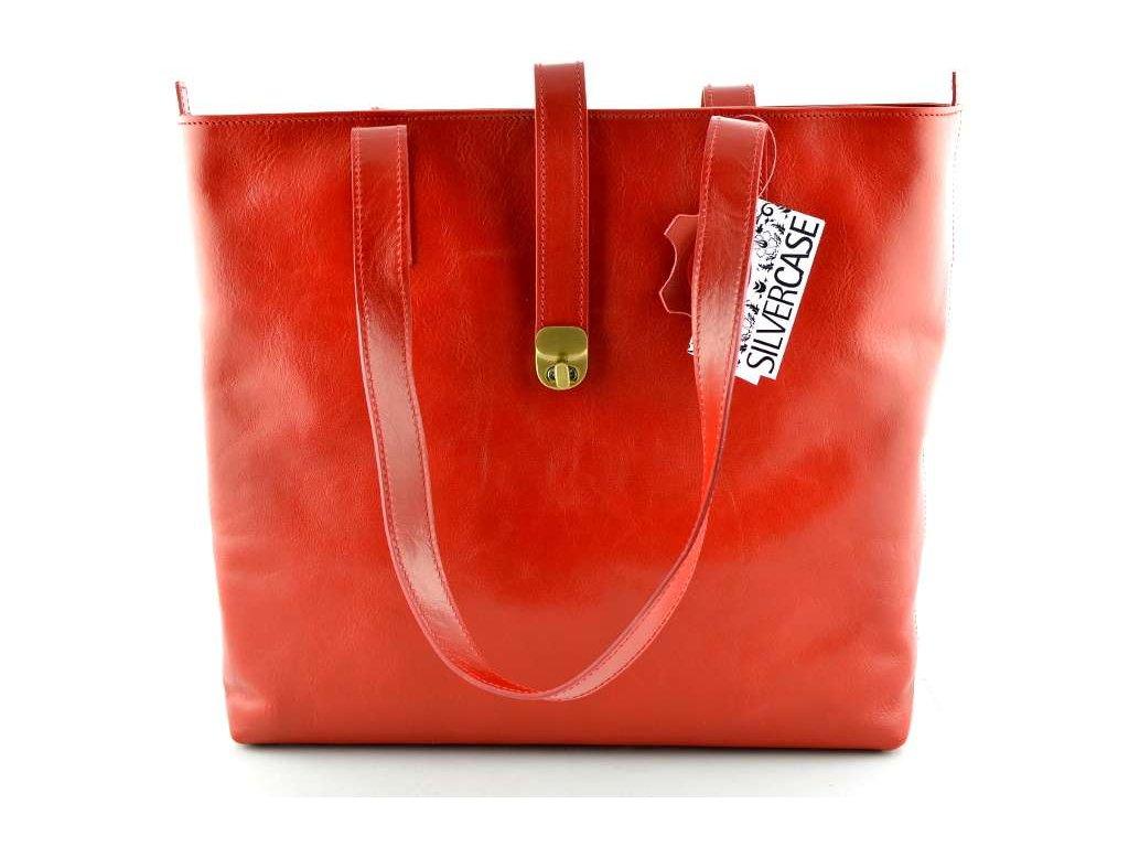 Velká kožená kabelka Silvercase - červená
