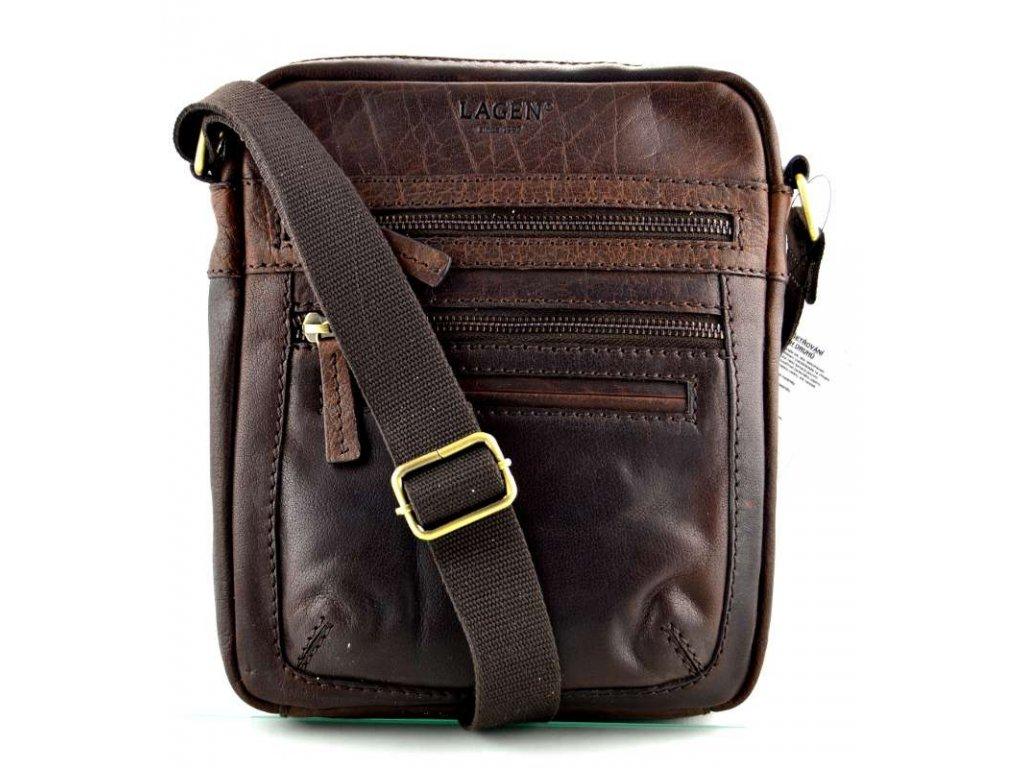 Kožená taška přes rameno Lagen - tmavě hnědá