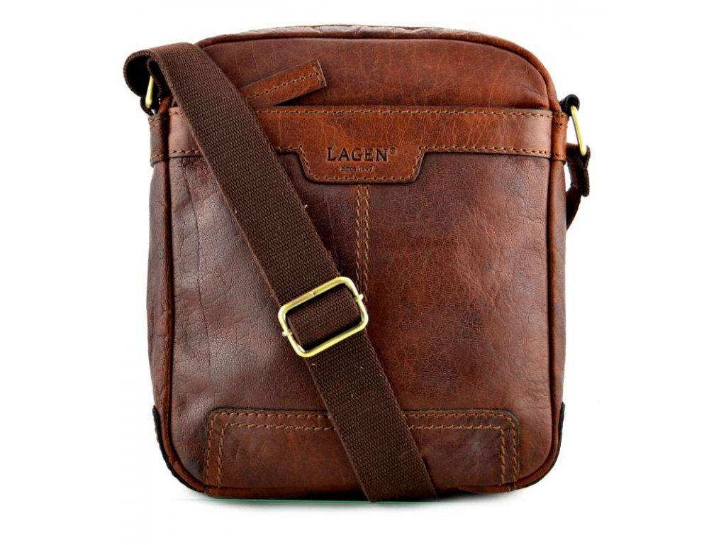 Kožená taška přes rameno Lagen - hnědá