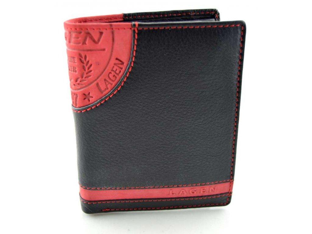 Kožená peněženka s ražbou Lagen - černo červená