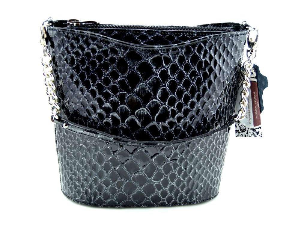 Malá elegantní kabelka se vzorem kroko Silvercase - černá