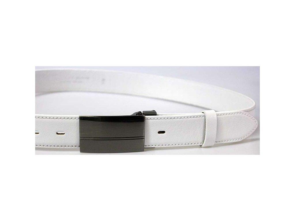 Společenský bílý kožený opasek s plnou sponou - Penny Belts