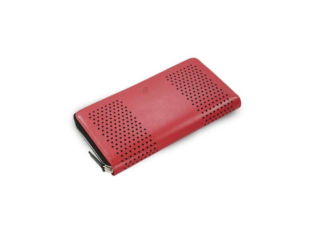 Kožená penálová peněženka Arwel - červená