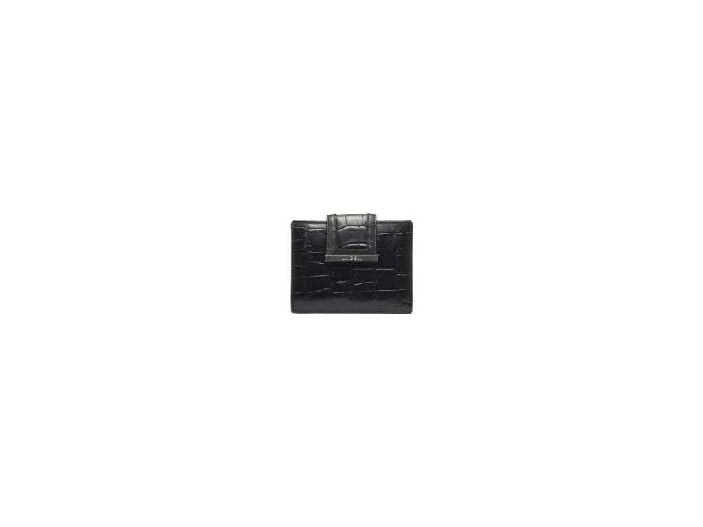 Luxusní kožená dámská peněženka Lagen se vzorem  - černá