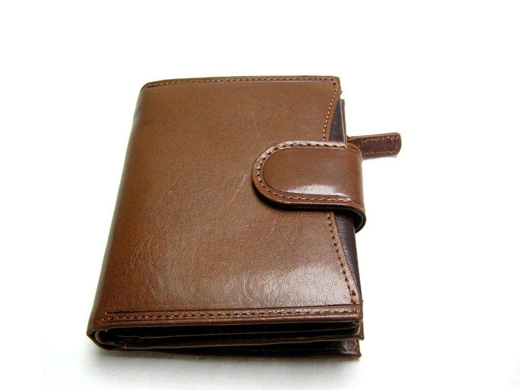 Kožená peněženka s decentním proužkem - hnědá