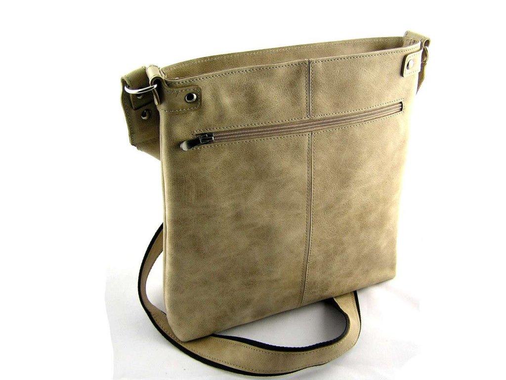 Velká dámská kožená taška přes rameno Silvercase - béžová