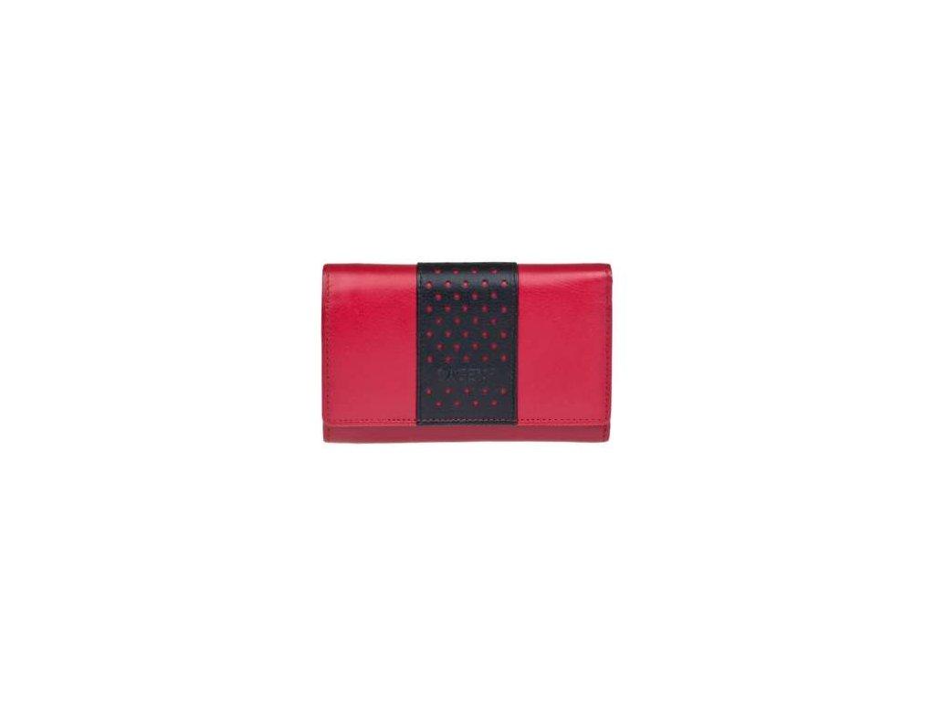 Luxusní kožená peněženka Lagen - červenočerná