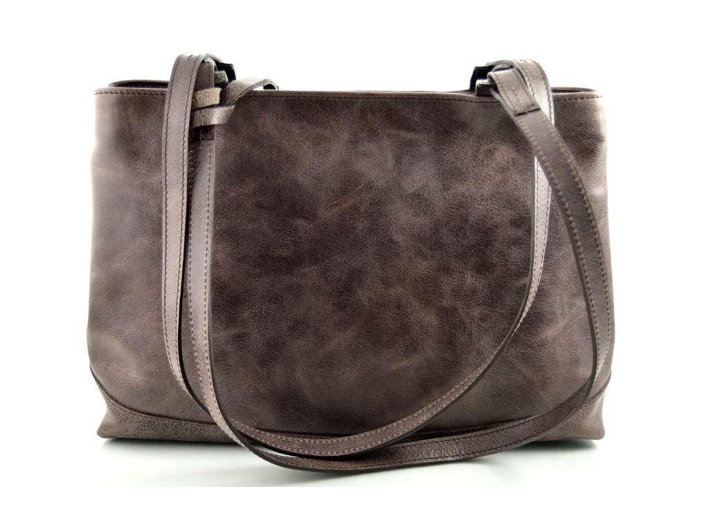 dvojita kozena kabelka silvercase tmave hneda