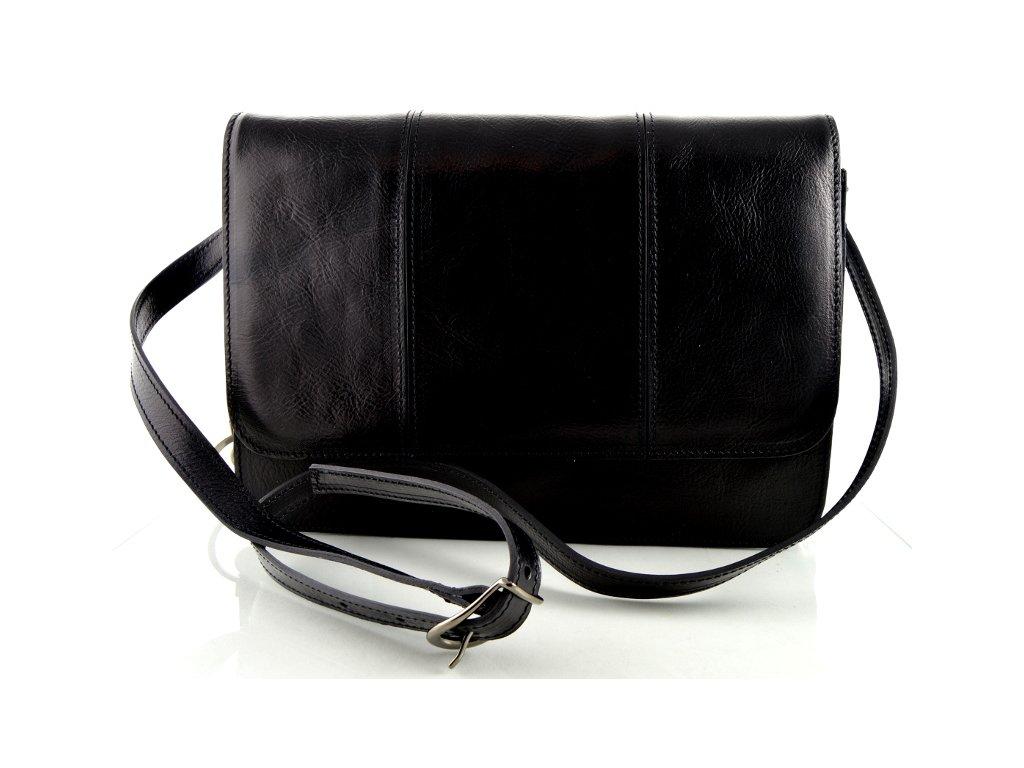 Klopnová kožená taška Silvercase - černá