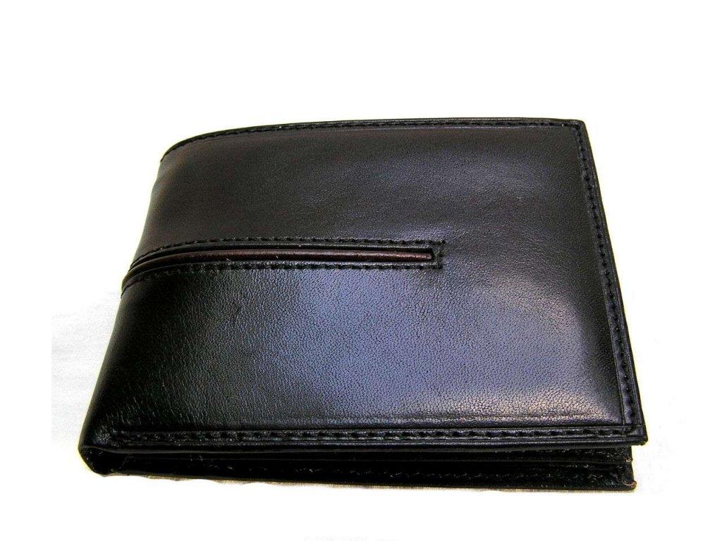 Černá pánská peněženka s všitým koženým pruhem černé barvy