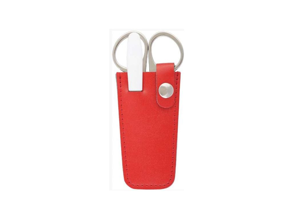 Mini kožená manikúra  DUP - červená