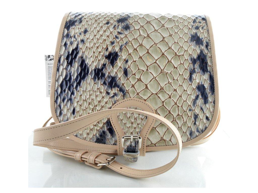 Klopnová lovecká kožená taška Silvercase - béžová se vzorem