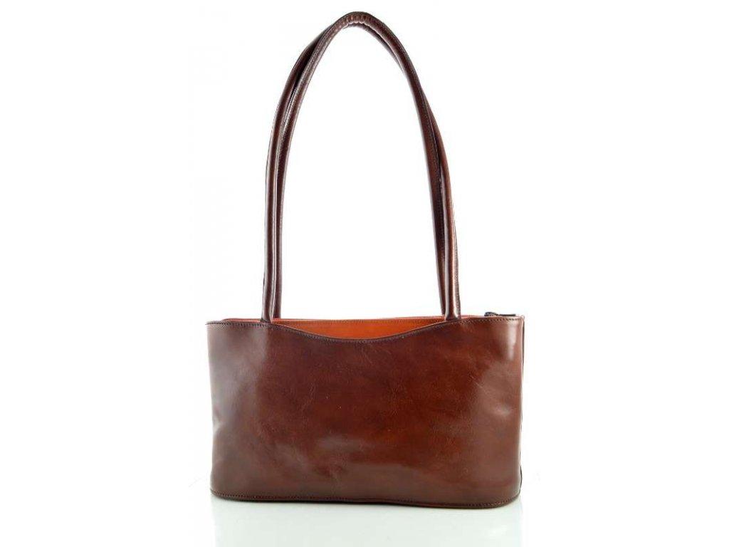 Elegantní kožená kabelka Silvercase -hnědo oranžová
