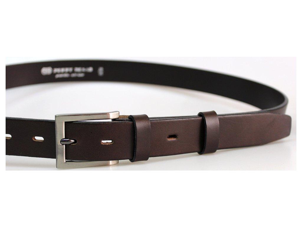 Nadměrný společenský tmavě hnědý kožený opasek - Penny Belts