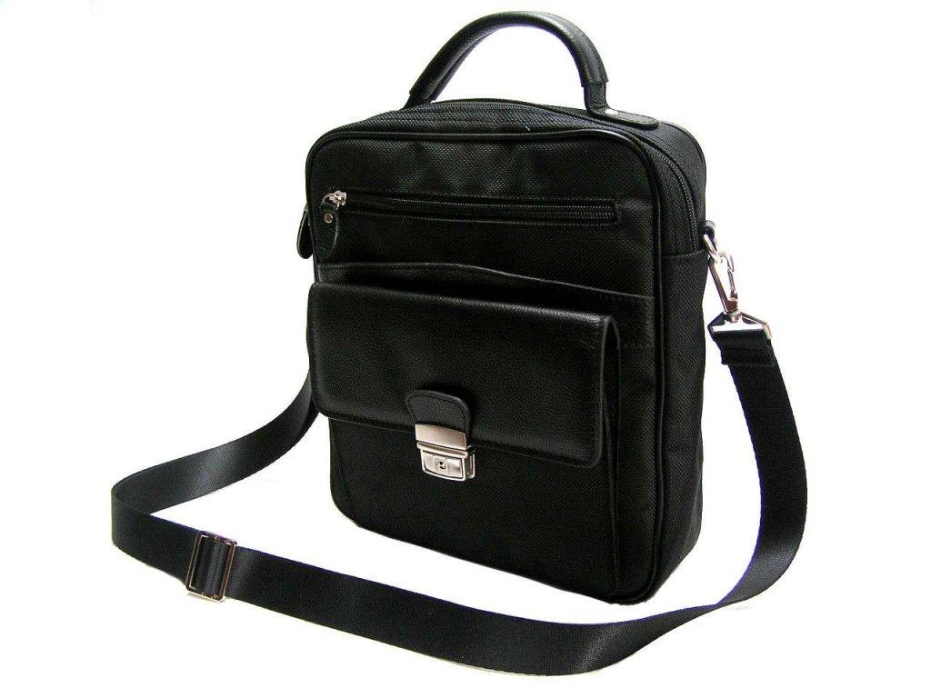 Koženo-textilní příruční taška - černá