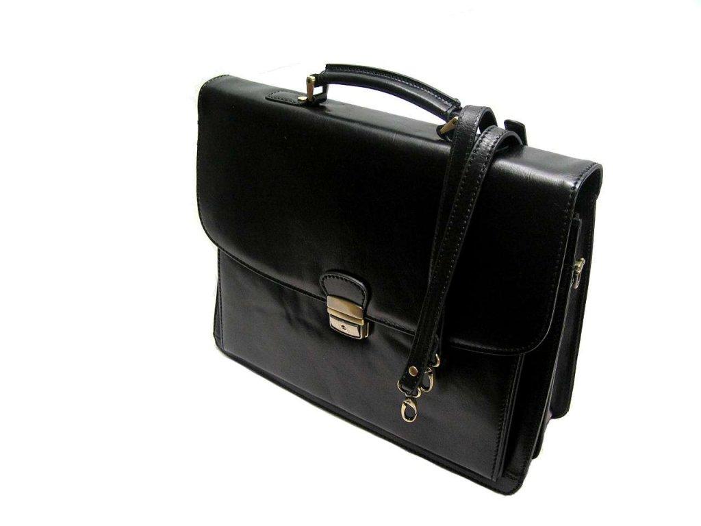 Luxusní aktovka na notebook z italské kůže - černá