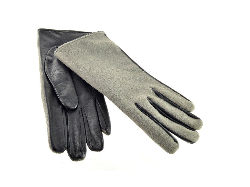 Kožené ruklavice - šedý chlup