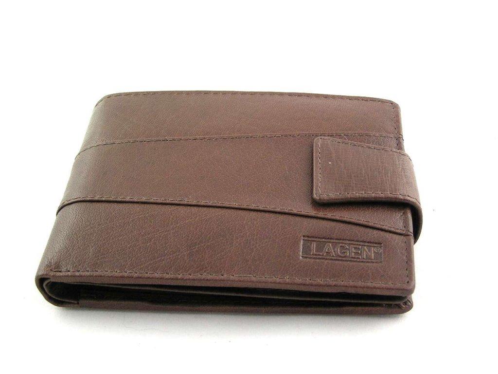 Kožená peněženka Lagen s přezkou - hnědá