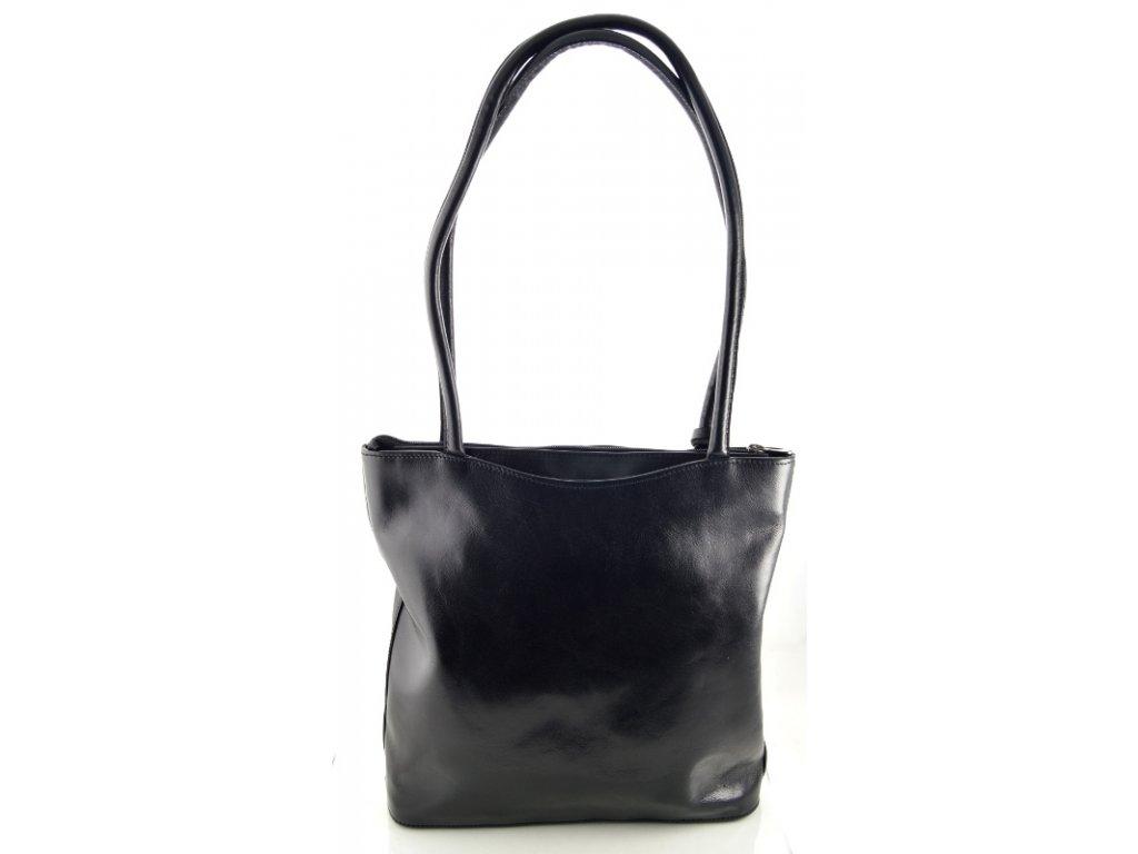 Vysoká kožená kabelka Silvercase - černá